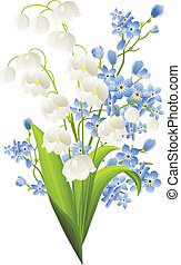 azul, lírios, flores, isolado, branca, vale