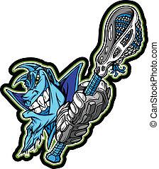 azul, lacrosse, demônio, ilustração, vetorial, vara, segurando, mascote