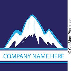 azul, logotipo, marinha, montanhas