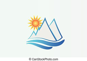 azul, logotipo, montanhas, sol