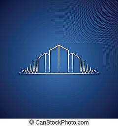 azul, logotipo, sobre, arquiteta