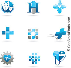 azul, logotipos, ícones, saúde-cuidado, medicina