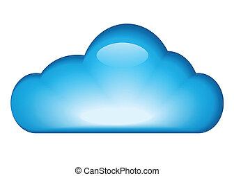 azul, lustroso, nuvem