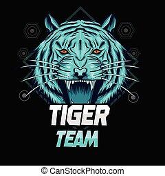 azul, mascote, logotipo, modelo, tiger