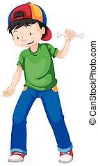 azul, menino, verde, calças brim, camisa
