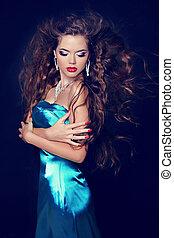 azul, moda, beleza, cabelo, elegante, ondulado, soprando, modelo, vestido, menina, voga