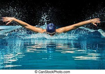 azul, mulher, boné, jovem, paleto, piscina, natação