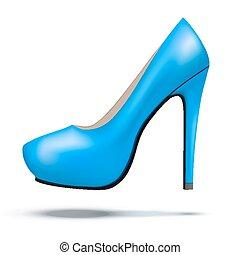 azul, mulher, sapatos, modernos, luminoso, alto, bomba, calcanhares