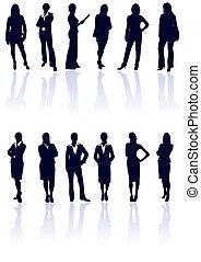 azul, negócio mulher, gallery., vetorial, escuro, silhuetas, jogo, reflections., meu, mais