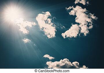 azul, nuvens, close-up, céu