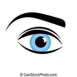 azul, olho mulher