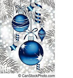 azul, ornamentos natal