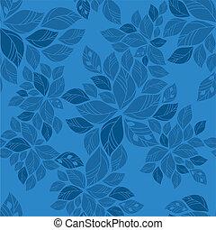 azul, padrão, folhas, seamless