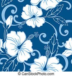 azul, padrão, seamless, havaí