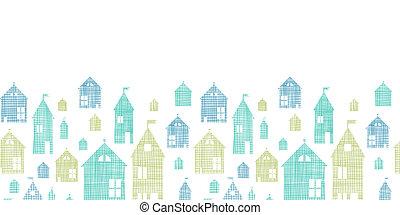azul, padrão, seamless, textura, têxtil, casas, experiência verde, horizontais