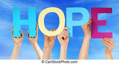 azul, palavra, coloridos, pessoas, direito, céu, ter, esperança