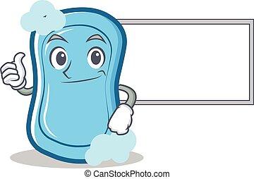 azul, personagem, cima, caricatura, tábua, sabonetes, polegares