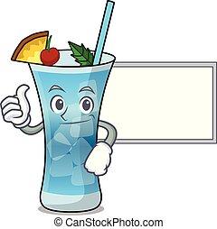 azul, personagem, havaí, cima, tábua, caricatura, polegares