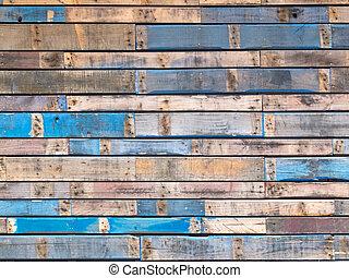 azul, pintado, siding, madeira, exterior, grungy, pranchas