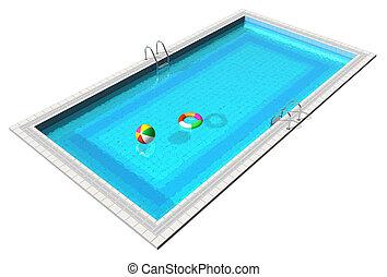 azul, piscina, natação