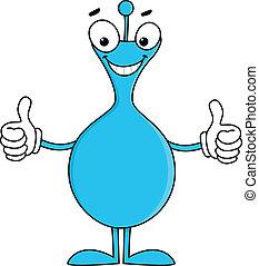 azul, polegares cima, caricatura