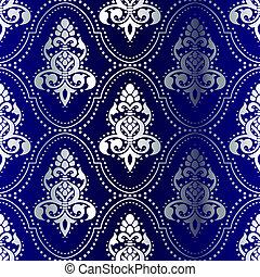 azul, pontos, padrão, seamless, indianas, prata