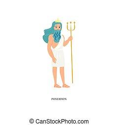 azul, poseidon, deus, oceânicos, cabelo, grego, mar