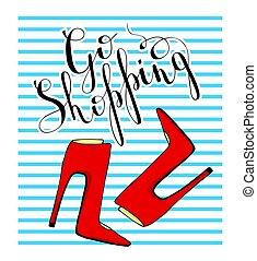 azul, poster., sapatos, motivational, words., fundo, listrado, vermelho