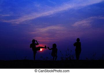 azul, prado, grupo, céu, tocando, verão, crianças, feliz