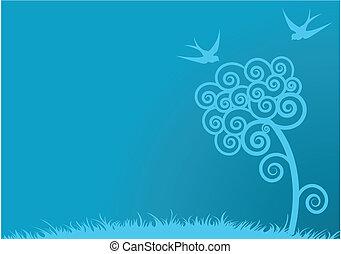azul, primavera, fundo