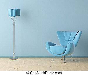 azul, projeto interior, cena