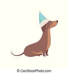 azul, purebred, santa, cachorro marrom, ilustração, vetorial, fundo, chapéu branco, bassê