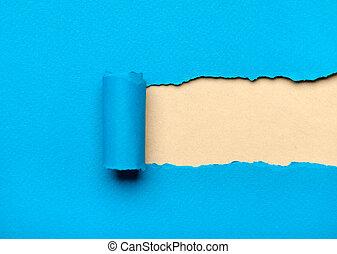azul, rasgado, espaço, papel, leitoso, mensagem