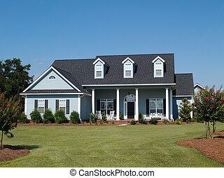 azul, residencial, dois relato, lar