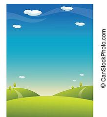 azul, rolando, céu, paisagem