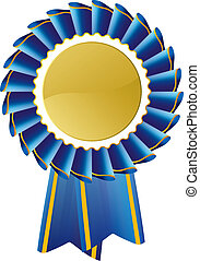 azul, rosette, distinção, selo