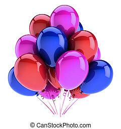 azul, roxo, decoração, partido aniversário, balões, vermelho