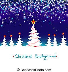 azul, sazonal, inverno, abstratos, árvore, fundo, vetorial, floresta, estrelas, christmas branco