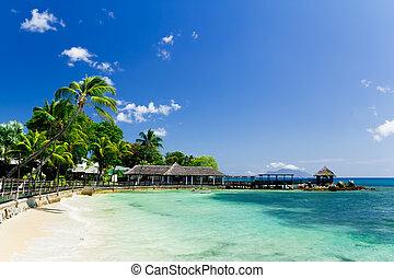 azul, seychelles, recurso, tropicais, lagoa, cais