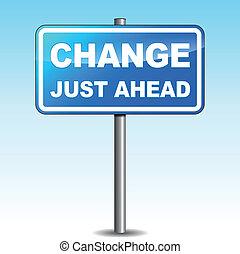 azul, signpost, vetorial, mudança