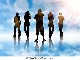 azul, silueta, fundo, grupo, pessoas, céu