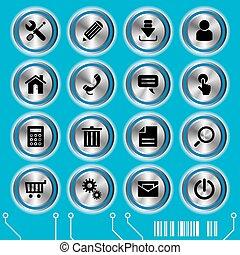 azul, site web, jogo, ícones