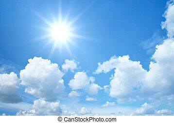 azul, sol, nuvens, céu