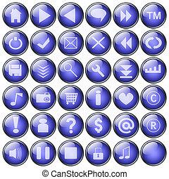 azul, teia, botões