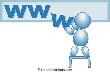 azul, teia, www, figura, vetorial, vara, internet, macho, homepage