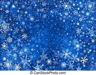 azul, tempestade, neve, fundo