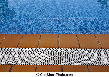 azul, verão, pavimentando, listras, férias, teak, madeira, piscina, natação