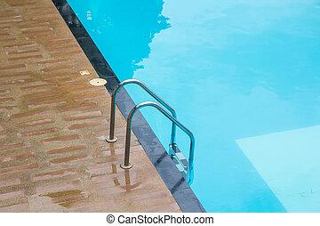 azul, verão, pavimentando, listras, teak, madeira, vacati, piscina, natação