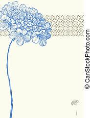 azul, vetorial, flor, fundo
