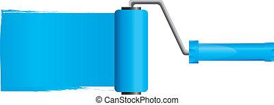 azul, vetorial, ilustração, pintura, parte, escova, pintura, 2, rolo